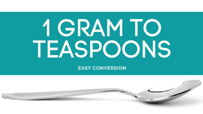 1 Gram to Teaspoons - g to tsp - how many grams in teaspoon