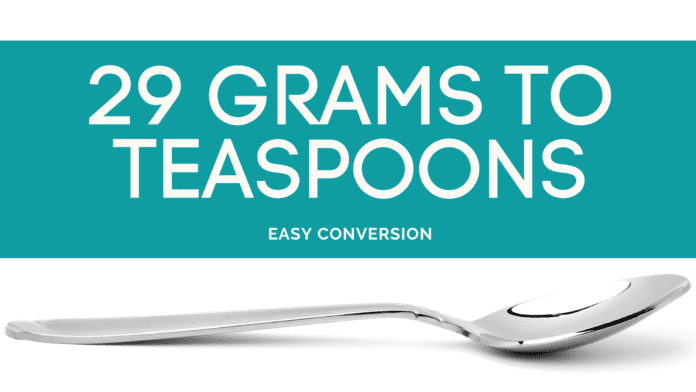 29 Grams to Teaspoons - g to tsp - how many grams in teaspoon