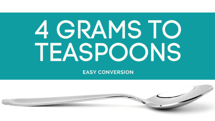 4 Grams to Teaspoons - g to tsp - how many grams in teaspoon
