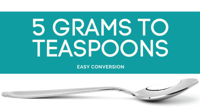 5 Grams to Teaspoons - g to tsp - how many grams in teaspoon